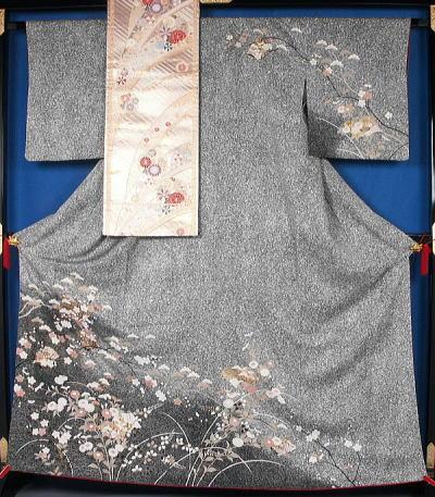 撒糊に草紙と春秋模様の訪問着と袋帯のセット