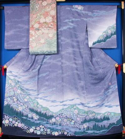 辻が花模様の訪問着と袋帯のセット