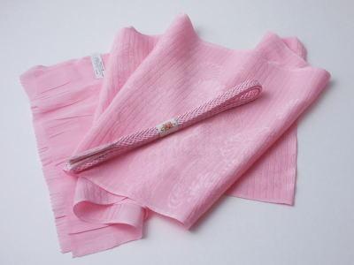 未使用品夏物帯揚〆セット薄ピンク