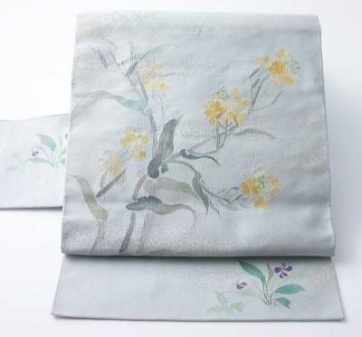 川島織物 菜の花模様のつづれ八寸名古屋帯