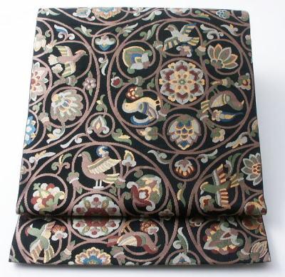 川島織物 花鳥丸紋模様の袋帯 <br />